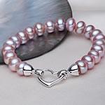 Kulturuar ujërave të ëmbla Pearl byzylyk, Pearl kulturuar ujërave të ëmbla, Shape Tjera, natyror, vjollcë, 9-10mm, :17.5cm,  17.5cm,