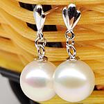 Një palë vathë Pearl ujërave të ëmbla, Pearl kulturuar ujërave të ëmbla, with 925 Sterling Silver, Round, natyror, e bardhë, 8-9mm,  Palë