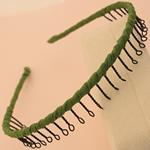 Hair Bands, Hekur, with Saten, Shape Tjera, pikturë, asnjë, e gjelbër, , nikel çojë \x26amp; kadmium falas, 13mm, 30PC/Shumë,  Shumë