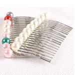 Combs dekorative Flokët, Alloy zink, with Glass Pearl, Shape Tjera, ngjyrë platin praruar, asnjë, ngjyra të përziera, , nikel çojë \x26amp; kadmium falas, 65x38mm, 40PC/Shumë,  Shumë