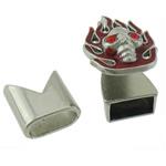 Alloy zink Cord lëkure kapje, Shape Tjera, ngjyrë platin praruar, smalt & me diamant i rremë, asnjë, , nikel çojë \x26amp; kadmium falas, 23x16mm, 13x13mm, : 10x5mm, 50I vendosur/Shumë,  Shumë