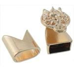 Alloy zink Cord lëkure kapje, Shape Tjera, ngjyra rose ari praruar, asnjë, asnjë, , nikel çojë \x26amp; kadmium falas, 17x14mm, 13x13mm, : 10x5mm, 50I vendosur/Shumë,  Shumë
