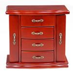 Bizhuteri Wood Set Box, Dru, with Velveteen & Alloy zink, Drejtkëndësh, ngjyrë bakri të praruar antike, asnjë, verë e kuqe ngjyra, 21x23x11.5cm,  PC