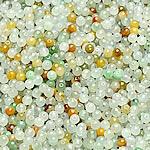 Beads Jadite, Round, natyror, qetë, 3.5-4mm, : 1-2mm, 100PC/Qese,  Qese