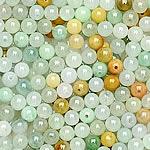 Beads Jadite, Round, natyror, qetë, 5.30mm, : 1-2mm, 100PC/Qese,  Qese