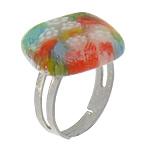 Ring Finger lampwork, with Hekur, Romb, ngjyrë platin praruar, me fetë Millefiori, asnjë, 19x19mm, :6, 100PC/Shumë,  Shumë
