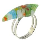 Ring Finger lampwork, with Hekur, Shape Tjera, ngjyrë platin praruar, me fetë Millefiori, asnjë, 30x12mm, :6, 50PC/Shumë,  Shumë