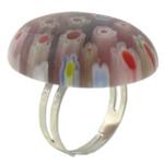 Ring Finger lampwork, with Hekur, Oval Flat, ngjyrë platin praruar, me fetë Millefiori, asnjë, 22x29mm, :6, 50PC/Shumë,  Shumë