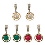 Një palë vathë Zink Alloy, Alloy zink, with Glass Pearl, Shape Tjera, ngjyrë ari praruar, me diamant i rremë, ngjyra të përziera, , nikel çojë \x26amp; kadmium falas, 14.50x28x10mm, 12Çiftet/Qese,  Qese