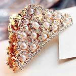 Flokët Clips Claw, Alloy zink, with Glass Pearl, Shape Tjera, ngjyra rose ari praruar, me diamant i rremë, asnjë, , nikel çojë \x26amp; kadmium falas, 55x28mm, 4PC/Shumë,  Shumë