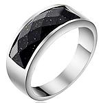 Çeliku Stainless Ring Finger, 316L Stainless Steel, with Goldstone, Shape Tjera, asnjë, për njeriun, ngjyra origjinale, 8mm, :5, 2PC/Shumë,  Shumë