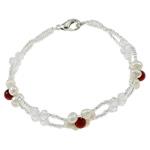 Pearl kulturuar ujërave të ëmbla, with Gërdallë & Kristal & Seed Glass Beads, Shape Tjera, natyror, e bardhë, 4-5mm, :6.5Inç, 10Fillesat/Qese,  Qese