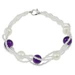 Pearl kulturuar ujërave të ëmbla, with Gërdallë & Seed Glass Beads, Shape Tjera, natyror, e bardhë, 7-8, :7Inç, 10Fillesat/Qese,  Qese