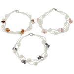 Pearl kulturuar ujërave të ëmbla, with Seed Glass Beads & Kuarc Natyrore, Shape Tjera, natyror, ngjyra të përziera, 5-6mm, :6Inç, 10Fillesat/Qese,  Qese