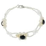 Pearl kulturuar ujërave të ëmbla, with Kristal & Seed Glass Beads, Shape Tjera, natyror, e bardhë, 5-6mm, :7Inç, 10Fillesat/Qese,  Qese