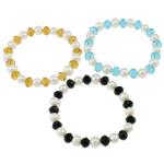 Kulturuar ujërave të ëmbla Pearl byzylyk, Pearl kulturuar ujërave të ëmbla, with Thread elastik & Kristal, Shape Tjera, natyror, ngjyra të përziera, 7-9mm, :7.5Inç, 10Fillesat/Qese,  Qese