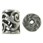 Beads aliazh zink Hollow, Alloy zink, Kolonë, Ngjyra antike argjendi praruar, i uritur, asnjë, , nikel çojë \x26amp; kadmium falas, 10x12mm, : 2mm, 100PC/Qese,  Qese