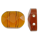 Imitim Swarovski Crystal Beads, Kristal, Oval, asnjë, faceted & imitim kristal Swarovski & double-vrimë, Topaz tymosur, 10.50x15x5.50mm, : 1mm, 50PC/Qese,  Qese