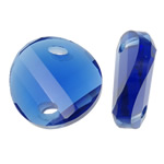 Imitim Swarovski Crystal Connector, Kristal, Kthesë, asnjë, faceted & imitim kristal Swarovski & 1/1 loop, Safir, 22x22x8mm, : 4.5x2mm, 50PC/Qese,  Qese