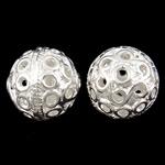 Beads Hollow tunxh, Round, Ngjyra argjend praruar, i uritur, asnjë, , nikel çojë \x26amp; kadmium falas, 13x12mm, : 1.5mm, 50PC/Qese,  Qese