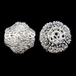 Beads Hollow tunxh, Daulle, Ngjyra argjend praruar, i uritur, asnjë, , nikel çojë \x26amp; kadmium falas, 14x14mm, : 2.5mm, 50PC/Qese,  Qese