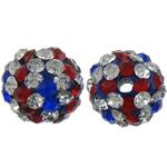 Diamant i rremë balta Beads hapë, Argjilë, Round, asnjë, me diamant i rremë, multi-colored, 10mm, : 2mm, 100PC/Shumë,  Shumë