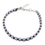 Tunxh, with Cord najlon, Shape Tjera, ngjyrë platin praruar, me diamant i rremë, blu të errët, , nikel çojë \x26amp; kadmium falas, 3mm, : 6Inç, 20Fillesat/Shumë,  Shumë