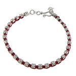 Tunxh, with Cord najlon, Shape Tjera, ngjyrë platin praruar, me diamant i rremë, i kuq, , nikel çojë \x26amp; kadmium falas, 3mm, : 6Inç, 20Fillesat/Shumë,  Shumë