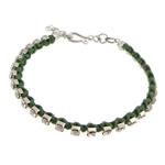 Tunxh, with Cord najlon, Shape Tjera, ngjyrë platin praruar, me diamant i rremë, e gjelbër, , nikel çojë \x26amp; kadmium falas, 3mm, : 6Inç, 20Fillesat/Shumë,  Shumë
