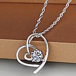 925 Sterling Silver, Zemër, Platinum kromuar, me zirconia kub, asnjë, 16x18mm, : 17.7Inç,  17.7Inç,