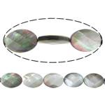 Beads Zi Shell, Black Shell, Oval Flat, asnjë, faceted, asnjë, 13x18x4mm, : 1mm, :16Inç, 5Fillesat/Shumë, 22 Pcs/Strand,  Shumë