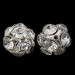 Tunxh, Round, Ngjyra argjend praruar, me diamant i rremë & i uritur, asnjë, , nikel çojë \x26amp; kadmium falas, 19x19mm, : 2mm, 10PC/Qese,  Qese