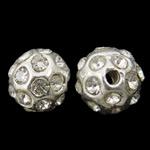Alloy zink Beads diamant i rremë, Round, Ngjyra argjend praruar, me diamant i rremë, asnjë, , nikel çojë \x26amp; kadmium falas, 9mm, : 2mm, 10PC/Qese,  Qese