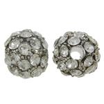 Alloy zink Beads diamant i rremë, Round, ngjyrë platin praruar, me diamant i rremë, asnjë, , nikel çojë \x26amp; kadmium falas, 8mm, : 2mm, 10PC/Qese,  Qese
