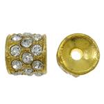 Alloy zink Beads diamant i rremë, Kolonë, ngjyrë ari praruar, me diamant i rremë, asnjë, , nikel çojë \x26amp; kadmium falas, 11x10mm, : 2mm, 10PC/Qese,  Qese