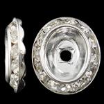Beads Spacer tunxh, Oval Flat, Ngjyra argjend praruar, me diamant i rremë, asnjë, , nikel çojë \x26amp; kadmium falas, 13.50x15x3mm, : 2mm, 100PC/Qese,  Qese