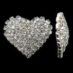 Bizhuteri tunxh Gjetja, Zemër, Ngjyra argjend praruar, me diamant i rremë, asnjë, , nikel çojë \x26amp; kadmium falas, 25x21.50x6mm, 5PC/Qese,  Qese