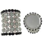 Beads bizhuteri bronzi, Tunxh, Kolonë, Ngjyra argjend praruar, me diamant i rremë & i uritur, asnjë, , nikel çojë \x26amp; kadmium falas, 20x23.5mm, : 1mm, 5PC/Qese,  Qese