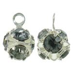 Tunxh, Shape Tjera, Ngjyra argjend praruar, me diamant i rremë & i uritur, asnjë, , nikel çojë \x26amp; kadmium falas, 6.5x9mm, : 1mm, 100PC/Qese,  Qese
