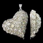 Tunxh, Zemër, Ngjyra argjend praruar, me diamant i rremë & i uritur, asnjë, , nikel çojë \x26amp; kadmium falas, 28x33x10mm, : 3x4.5mm, 2PC/Qese,  Qese