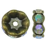 Beads Spacer tunxh, Round, Ngjyra antike bronz i praruar, me diamant i rremë, asnjë, , nikel çojë \x26amp; kadmium falas, 22x9mm, : 3.5mm, 10PC/Qese,  Qese