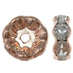 Beads Spacer tunxh, Round, ngjyra rose ari praruar, me diamant i rremë, asnjë, , nikel çojë \x26amp; kadmium falas, 21.5x8.5mm, : 4mm, 10PC/Qese,  Qese