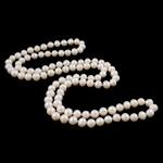 Natyrore ujërave të ëmbla Pearl gjerdan, Pearl kulturuar ujërave të ëmbla, Patate, natyror, e bardhë, 8-9mm, : 33.5Inç,  33.5Inç,