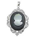 Pendants Natyrore White Shell, with Rrëshirë & Tunxh, Oval Flat, ngjyrë platin praruar, me diamant i rremë, asnjë, 37x54x6mm, : 4.5x7mm, 10PC/Shumë,  Shumë