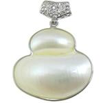 Pendants Natyrore White Shell, with Tunxh, Kungull uji, ngjyrë platin praruar, asnjë, asnjë, 39.50x43x12mm, : 4x6mm, 10PC/Shumë,  Shumë