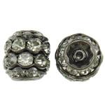 Beads bizhuteri bronzi, Tunxh, Kolonë, plumbit ngjyrë të zezë praruar, me diamant i rremë, asnjë, , nikel çojë \x26amp; kadmium falas, 10x10.5mm, : 1mm, 10PC/Qese,  Qese