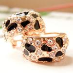 Një palë vathë Zink Alloy, Alloy zink, Shape Tjera, ngjyra rose ari praruar, smalt & me diamant i rremë, asnjë, , nikel çojë \x26amp; kadmium falas, 18x15mm, 5Çiftet/Shumë,  Shumë