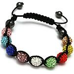 Diamant i rremë Shamballa Bracelets, diamant i rremë Shtrim bead, with Cord najlon & Jo-magnetike kuqe e mbylltë, Shape Tjera, endura, asnjë, multi-colored, 10mm, :7-11Inç, 10Fillesat/Shumë,  Shumë
