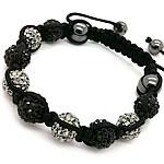Diamant i rremë Shamballa Bracelets, diamant i rremë Shtrim bead, with Cord najlon & Jo-magnetike kuqe e mbylltë, Shape Tjera, endura, asnjë, asnjë, 10mm, :7-12Inç, 10Fillesat/Shumë,  Shumë
