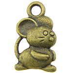 Pendants Zink Alloy Kafshëve, Alloy zink, Maus, Ngjyra antike bronz i praruar, asnjë, asnjë, , nikel çojë \x26amp; kadmium falas, 9x15x3mm, : 2.5mm, 1000PC/KG,  KG